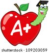 Worm In Red Apple With Graduate Cap,Glasses And Letter A+ - stock vector