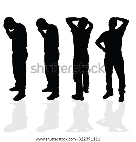 worried man vector black silhouette illustration - stock vector