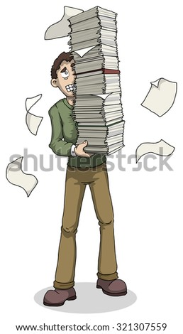 Worried man with huge pile of papers, documents, vector illustration isolated on white - stock vector
