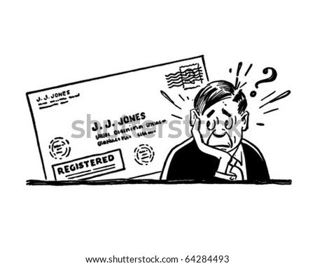 Worried Man With Letter - Retro Clipart Illustration