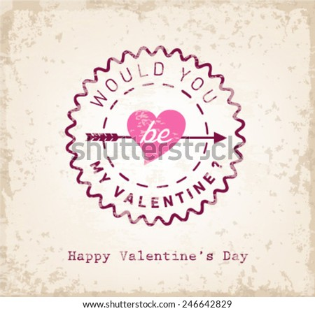 Would You Be My Valentine? - Valentines Day Typography Background - stock vector
