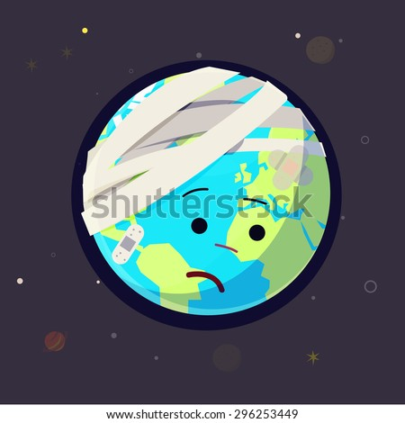 Wounded Earth. bandage and plaster on earth. heal the world concept - vector illustration - stock vector
