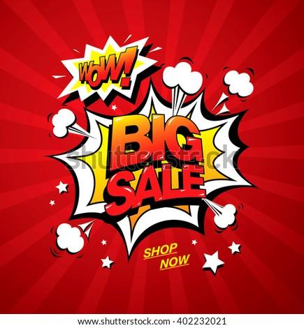 Wow! Big sale banner template design - stock vector