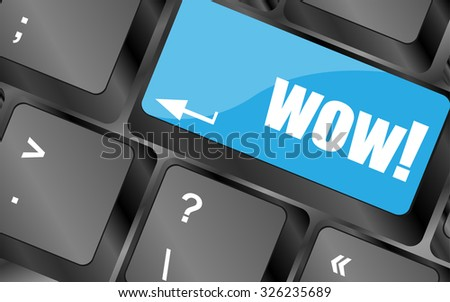 wow button on computer keyboard key, vector illustration - stock vector