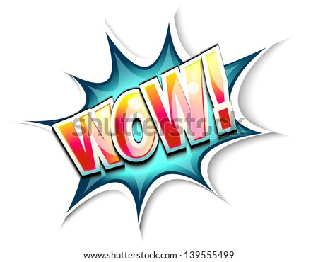 Wow colored comic book illustration - stock vector