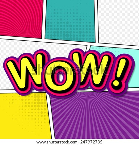 Wow. Comic background pop-art style. Colorful vector illustration. Bright cartoon comic - stock vector