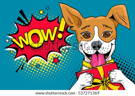 Pop Art Comic Poster Image Puppies Stock Vector 442900279