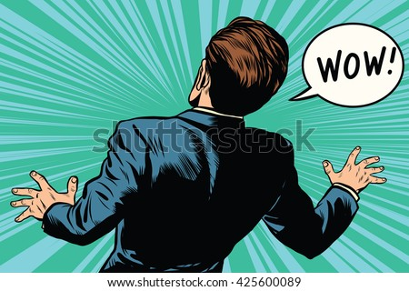 wow reaction man fear retro comic pop art - stock vector