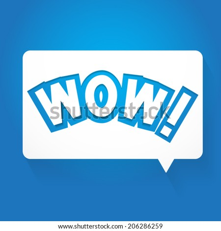 WOW Speech Bubbles on Blue Background - stock vector