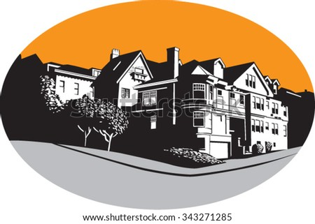 WPA style illustration of an American mansion residential house on a street corner with trees and grass set inside oval shape done in retro style.  - stock vector