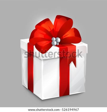 wrapped gift box big satin bow stock vector royalty free 526194967