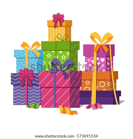 Wrapped gift boxes pile isolated on stock vector 573691534 wrapped gift boxes pile isolated on white background presents or gifts stack for wedding or negle Images