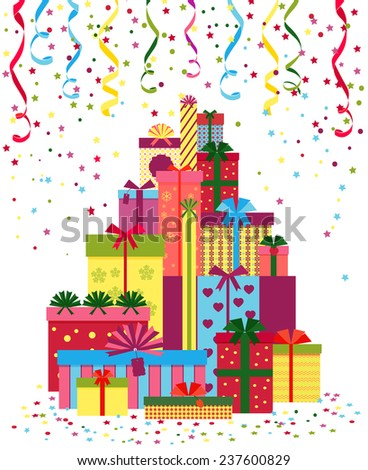 Wrapped presents or gift boxes stack. Pile of gifts wrapped in colorful paper and tied with ribbons. Christmas, New Year - stock vector
