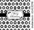 wrapping paper with black and white christmas baubles and banner - stock vector