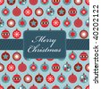 wrapping paper with blue and red christmas baubles and banner - stock vector