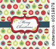 wrapping paper with blue, green and red christmas baubles and banner - stock