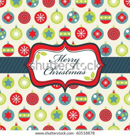 wrapping paper with blue, green and red christmas baubles and banner - stock vector
