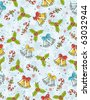 wrapping paper with christmas elements,  vector illustration - stock vector
