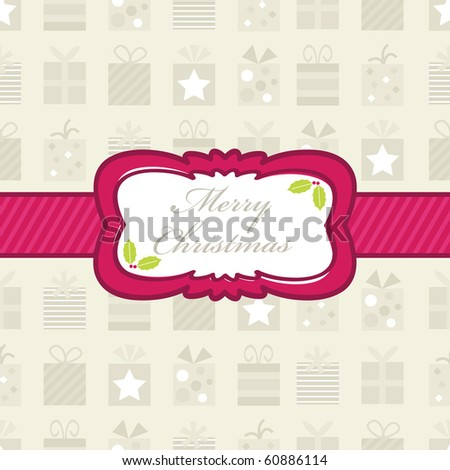 wrapping paper with christmas gifts and pink banner, gifts with clipping mask