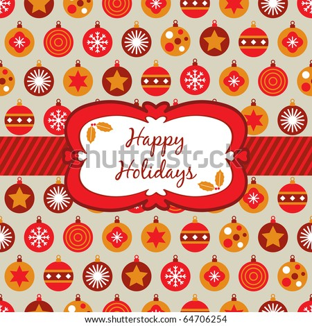 wrapping paper with red, orange and yellow christmas baubles and banner