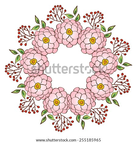 Wreath frame, border of floral ornament with swirls and flowers in vintage style - stock vector