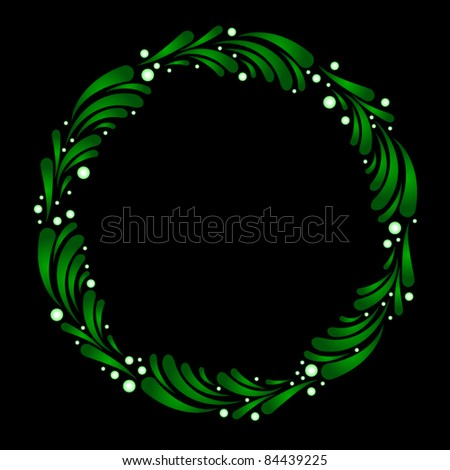 Wreath made from stylized mistletoe leaves and berries - stock vector