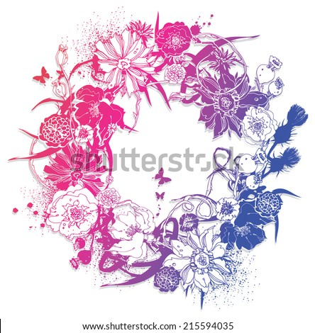 Wreath of flowers - stock vector