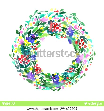 Wreath of forest flowers. Vector. Hand drawn artwork. Love concept for wedding invitations, cards, tickets, congratulations, branding, label. Blue cyan green pink purple violet indigo yellow red  - stock vector