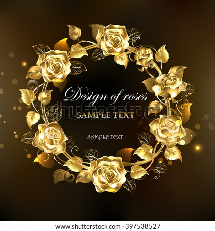 Wreath Gold Jewelry Roses On Black Stock Vector 397538527 Shutterstock