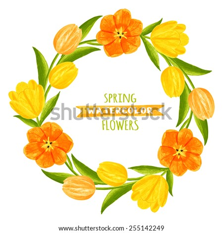 Wreath of tulips. Watercolor vector illustration. Floral design elements. Global color used. - stock vector