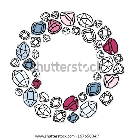 wreath shaped colorful beautiful shining crystals diamonds precious stones beauty fashion illustration isolated elements on white background  - stock vector