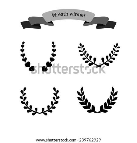 Wreath winner set , ribbon banner. Victory, champion icon in flat - stock vector