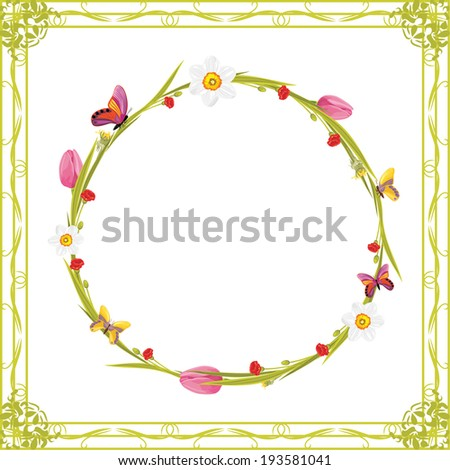 Wreath with butterflies and spring flowers in decorative frame. Vector - stock vector