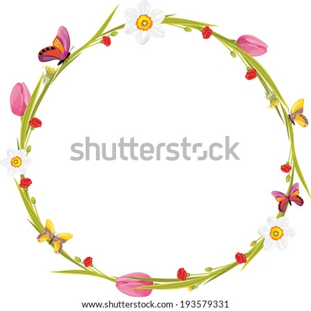 Wreath with butterflies and spring flowers. Vector - stock vector