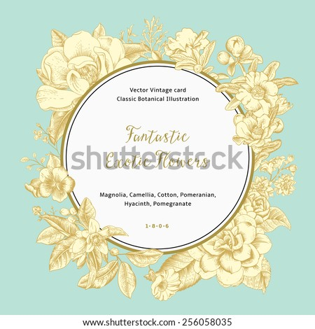 Wreath with exotic flowers. Gold magnolia, camellia, hyacinth, pomegranate on mint background. Vector Vintage card. - stock vector