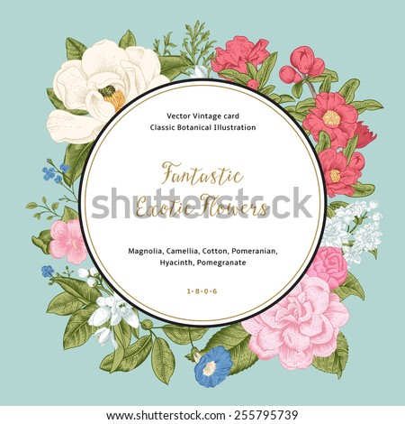Wreath with exotic flowers. Magnolia, camellia, hyacinth, pomegnanate on mint background. Vector Vintage card. - stock vector