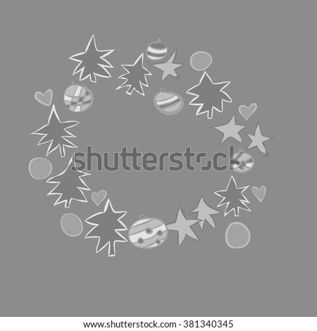 Wreath with floral motifs, spruces, balls, hearts, stars,  pattern. Hand drawn.