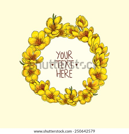 Wreath with hand-drawn flowers of crocus - stock vector