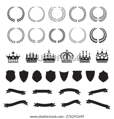 Wreaths, crowns, shields and ribbons, icon set, graphic design elements, black isolated on white background, vector illustration. - stock vector