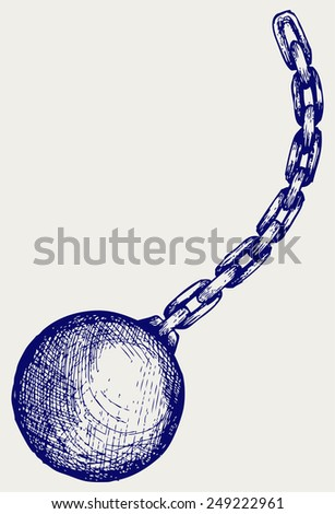 Wrecking ball. Doodle style - stock vector