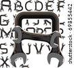 wrench alphabet - stock photo