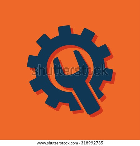 Wrench and gear icon, vector illustratoon