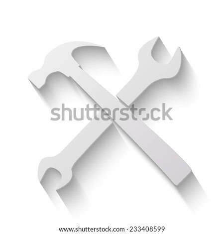 wrench and hammer vector icon - paper illustration on white background