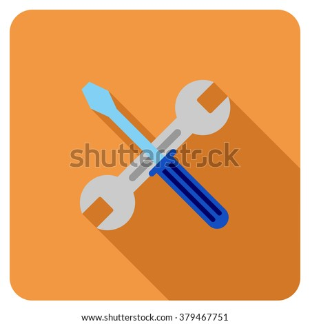 Wrench And Screwdriver long shadow vector icon. Style is a flat symbol on a colored rounded square button. - stock vector