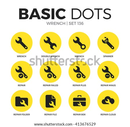 Wrench flat icons set with spanner, repair and wrench isolated vector illustration on white - stock vector