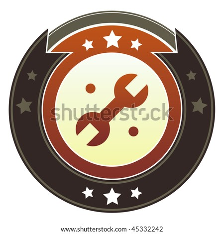 Wrench, settings, or repair icon on round red and brown imperial vector button with star accents - stock vector