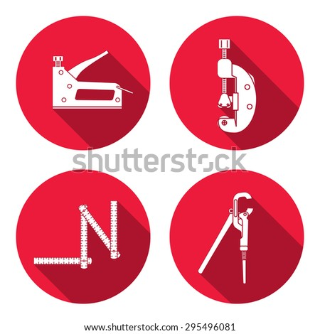 Wrench, stapler, rule, cutter, bolt clamp, adjustable spanner icon. Repair, fix, control, measure, building tool symbol. Round circle flat icon with long shadow. Flat design. Vector - stock vector