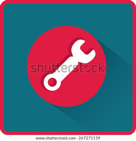 Wrench. tool to work Flat modern web button - stock vector