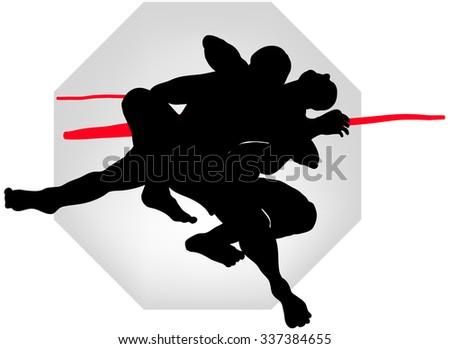 Wrestlers - stock vector