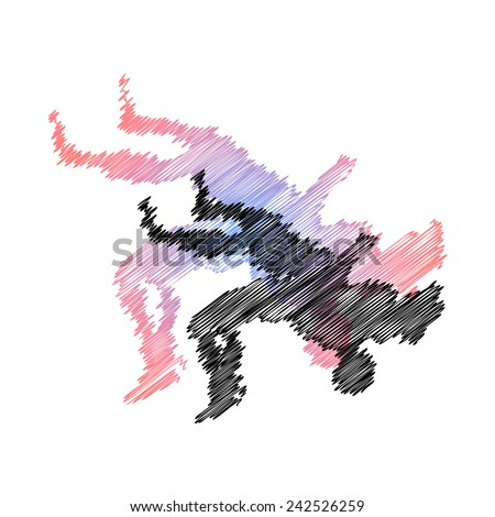 Wrestling abstract throw. Vector pic. - stock vector